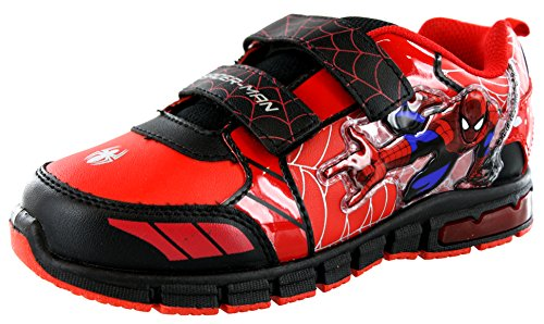 Marvel Ultimate Spiderman Toddler/Little Kid Lighted Dual Strap Shoes (7 M US Toddler, Red/Black)