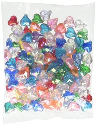 Darice Heart-Assorted Transparent AB Colors Faceted Acrylic Beads