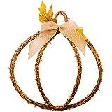 "CraftMore 17"" Fall Pumpkin Wreath - Grapevine - Rustic Autumn Wall Decor"