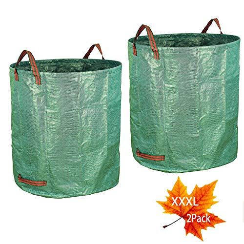2Pack 132 Gallons Gardening Bag with Double Bottom Layer – Extra Large Reuseable Heavy Duty Gardening Bags, Lawn Pool Garden Leaf Waste Bag, Comes with Gloves