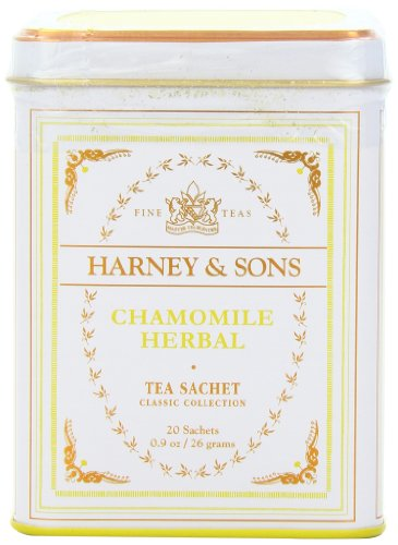 Harney & Sons Chamomile Herbal Tea, Classic Tin, 20 Sachets -
