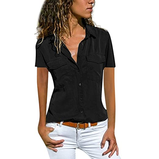fbe3af41ee7 Women Short Sleeve Shirt Blouse Turn Down Collar Pockets Buttons Top T  Shirt Pullover Tunic Tops