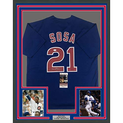 (Framed Autographed/Signed Sammy Sosa 33x42 Chicago Blue Baseball Jersey JSA COA)