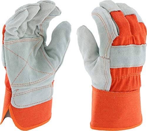 West Chester 75525 Split Cowhide Leather Double Palm Glove with Canvas Back, Work, 2-1 2 Safety Cuff, 10-1 8 Length, Medium, Orange (Pack of 1 Pair)