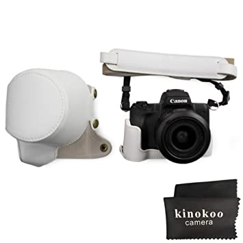 Canon EOS M50, kinokoo Estuche Completo para Canon EOS M50 y Lente de 15-45 mm, Estuche Protector de la Funda de Cuero de la PU (Blanco)
