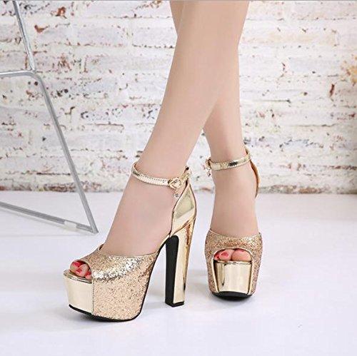 MZG Impermeable Taiwán sandalias 14 centímetros de súper tacón alto zapatos de boca de pescado cien mujeres 2