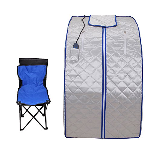 PanelTech 600W Foldabl Personal Home Steam Saun FIR Far Infrared Sauna Spa + Negative Ion Detox + Wired Remote Control with Folding Chair and Heating Footpad