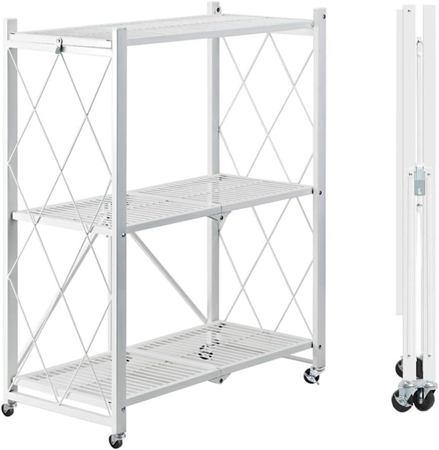 MSSOHKAN Free-Installation Kitchen Rack, 3-Shelf Foldable Shelving with Wheels, Balcony Home Storage Rack, Multifunctional Storage Flower Stand、Book Shelf. (White)