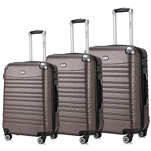 Expandable Luggage Set, TSA Lightweight Spinner Luggage Sets, Carry On Luggage 3 Piece Set(COFFEE, 3 pcs set(20