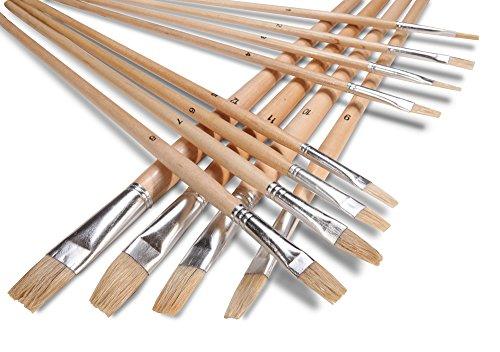 Artist Paint Brush Set (12 Pc. Flat Tip) - Lowell Cornell Paint Brush