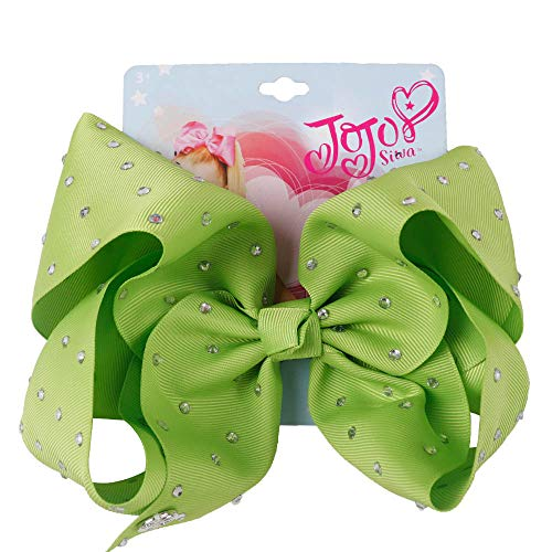 Jumbo Full Rhinestones Bow Solid Grosgrain Ribbon Alligator Clips Headwear Bowknot For Girls Hair Accessories apple green