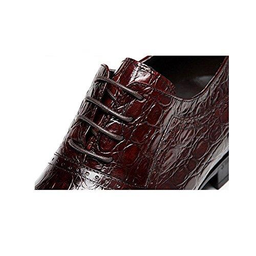 DHFUD Hommes Chaussures De Mode Casual Dentelle Chaussures De Mariage Red xs2Q19Il