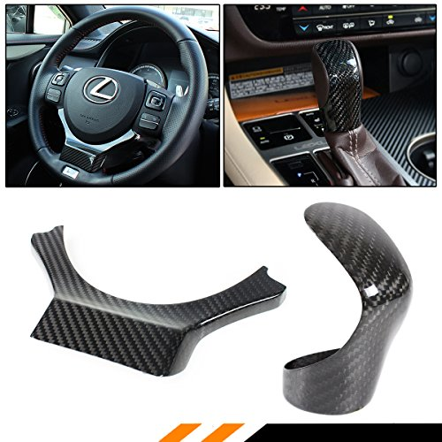 Cuztom Tuning CARBON FIBER STEERING WHEEL TRIM + SHIFT KNOB COVER FOR 2014-2018 LEXUS IS RC (Shifter Trim)