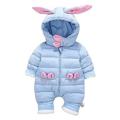 a63bc695160d Amazon.com  M A Baby Girls Boys Puffer Winter Romper Snowsuit Rabbit ...