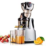 Slow Masticating Juicer, Jese 37RPMs Cold Press Juice Extractor 3.4″ Wide Chute Countertop Juicer
