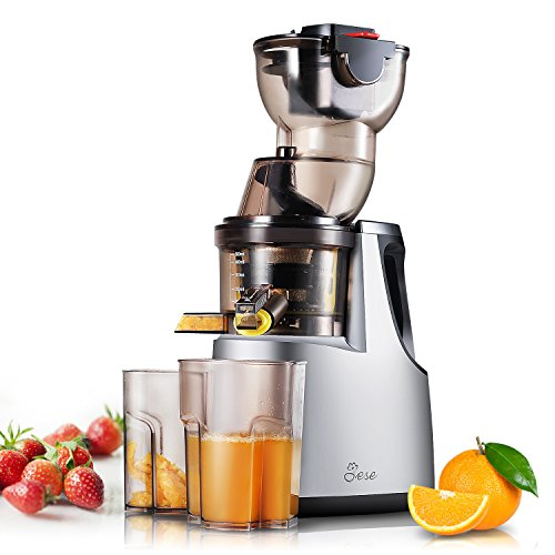 Slow Masticating Juicer, Jese 37RPMs Cold Press Juice Extractor 3.4' Wide Chute Countertop Juicer