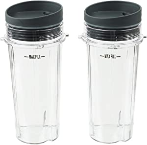 Blender Cups, 16OZ Cup with Sip Lids, Compatible with BL660 BL663 BL740 BL770 BL771 BL772 BL780 BL810 BL820 BL830 for Nutri Ninja Auto IQ Series Blenders (2 Pack)