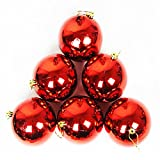 6Pcs Christmas Balls Baubles Party Xmas Tree Decorations Hanging Ornament Decor Pendant Accessories New Year Gift (Red)