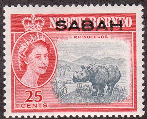 Sumatran Rhinoceros 25 Cents Malaysia Sabah Postage for sale  Delivered anywhere in USA