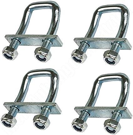 utilizzabili come anelli di ancoraggio per cinghie elastiche 4 staffe a U piegate a 150/° 2.000 daN supportano fino a 2.000 kg