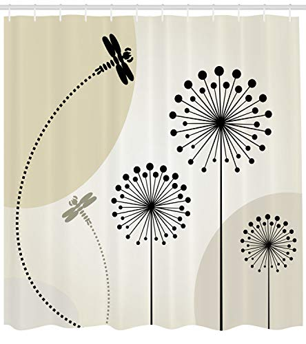 Lunarable Dandelion Shower Curtain, Dragonflies Flying Over The Spiky Flowers Through The Dashed Path, Cloth Fabric Bathroom Decor Set with Hooks, 70 inches, Black Beige and Ivory