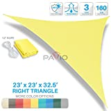 Patio Paradise 23' x 23' x 32.5' Canary Yellow Sun Shade Sail Right Triangle Canopy - Permeable UV Block Fabric Durable Outdoor - Customized Available