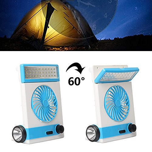 Ansee 3 in 1 Multi-functional Solar Cooling Table Fans with Eye-Care LED Table Lamp Flashlight Solar Panel Adaptor Plug for Home Use Camping (Blue) by Ansee (Image #4)