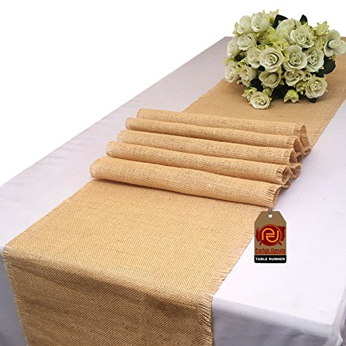 Parfair Dessin 12x72 Inch Natural Burlap Jute Fringe Table R