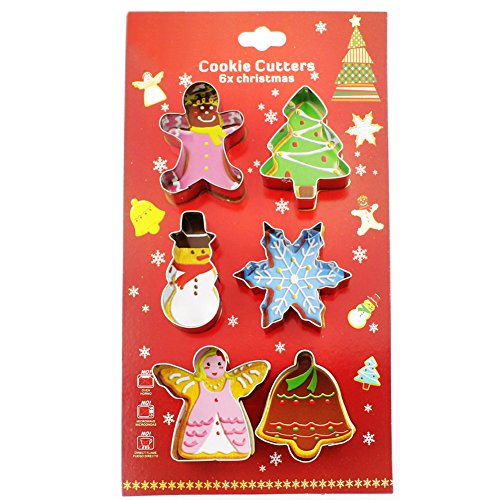 Christmas Cookie Cutters Set,Gingerbread Man,Christmas Tree,Snowman,Snowflake,Angel,Bell- 6pcs