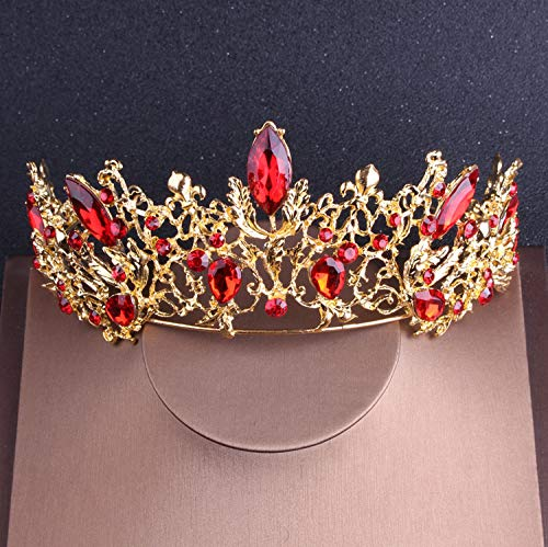 (Baroque Vintage Gold Red Crystal Bridal Jewelry Sets Rhinestone Tiaras Crown Choker Necklace Earrings Set Wedding Accessories)