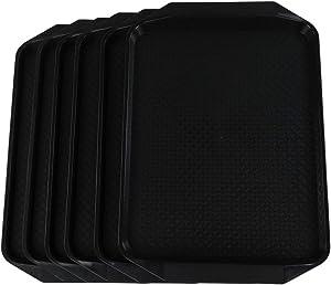 Neadas Large Rectangle Plastic Food Serving Trays, Black, 6 Packs