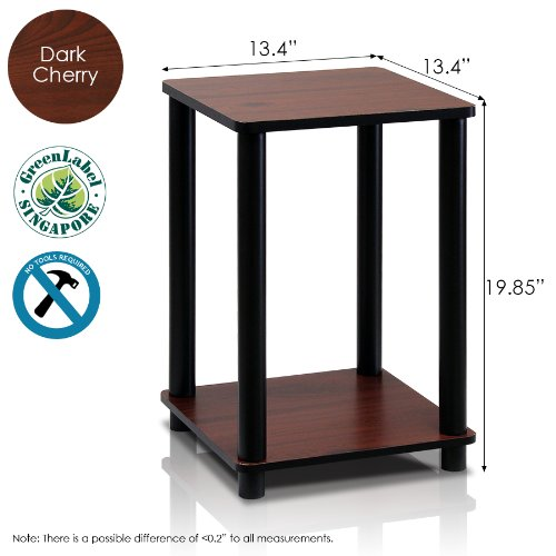 Furinno Turn-N-Tube End Table, Dark Cherry Black