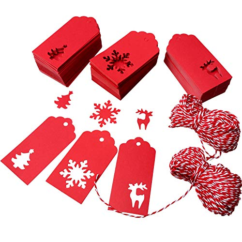 Patelai 210 Pieces Paper Tags Gift Hang Tags Christmas Tree Snowflake Reindeer Shape Hanging Labels with 164 feet Twines for Christmas Wedding Birthday (Red)