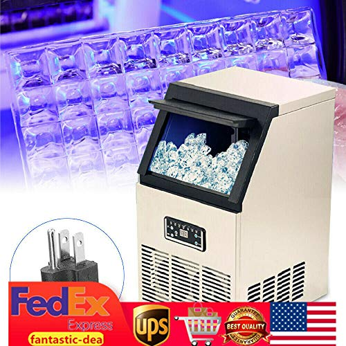 110Lbs Commercial Ice Maker Machine w/Digital Screen Display, Auto Home Ice Cube Making Machine Air Cooled Portable Freestanding Cafe Party for Supermarkets Restaurant Bubble -