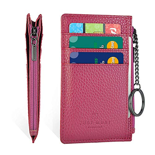 Slim Leather Wallets for Women & Men - RFID Blocking Front Pocket Credit Card Holder Wallet with Keychain and Zipper Design