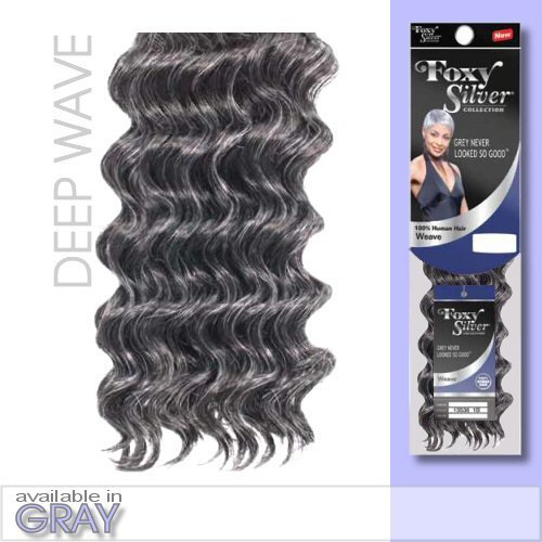 Salt And Pepper Wigs (FOXY WEAVE - DEEP WAVE12 (Foxy Silver) - Human Hair Blend Weave in 51)