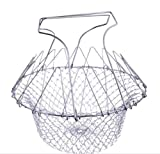Foldable Fry Basket Steam Strainer Net, Kitchen Dining & Bar Cooking Tools Utensils,Chef Rinse Strain Magic Basket Mesh Basket for Fried Food or Fruits,Sliver,1pcs
