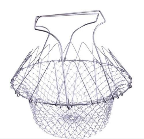 Foldable Fry Basket Steam Strainer Net, Kitchen Dining & Bar Cooking Tools Utensils,Chef Rinse Strain Magic Basket Mesh Basket for Fried Food or Fruits,Sliver,1pcs by XxSl