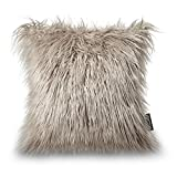 PHANTOSCOPE Decorative Luxury Series Merino Style Beige Faux Fur Throw Pillow Case Cushion Cover 18″ x 18″ 45cm x 45cm For Sale