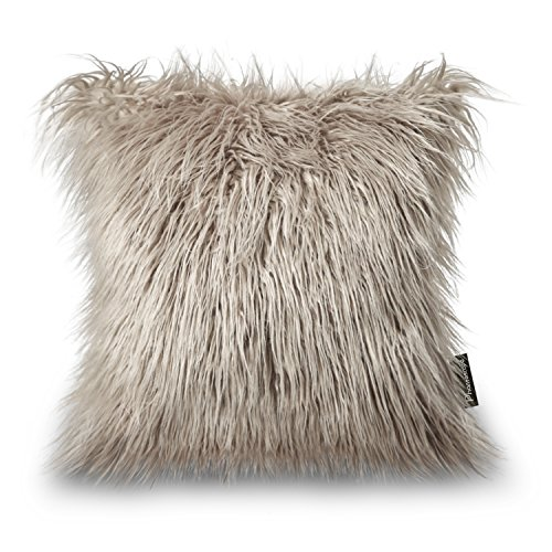 Phantoscope Decorative New Luxury Series Merino Style Beige Faux Fur Throw Pillow Case Cushion Cover 18