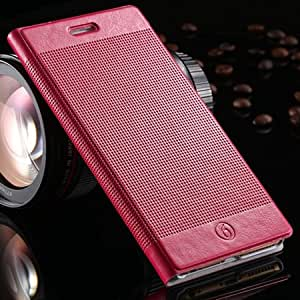 For Iphone 6 Plus Deluxe Flip Grid Pattern Leather Case For Apple Iphone6 5.5 Wallet Stand Casual Retro Cover With Credit Holder Hot Pink-hot pink