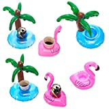Cazul Goods Inflatable Pool Drink Holder Floats - 3 pieces Flamingo and 3 pieces Palm Tree Design (Set of 6)