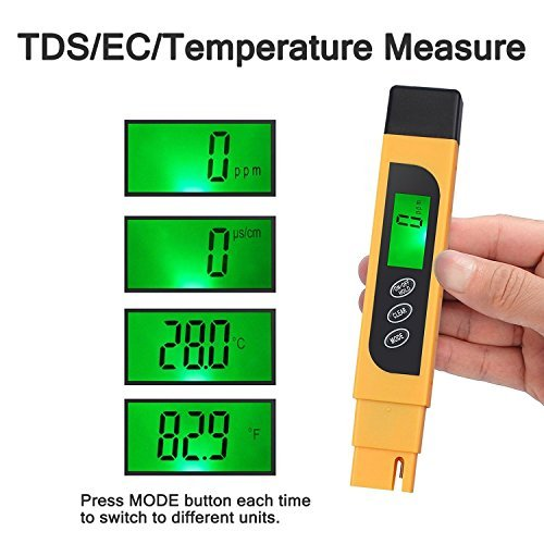 Kamtop Digital Water Quality Tester TDS EC Temperature Meter with Battery Leather Bag Range at 0-9990 with Color Change Function Water Purity Test PPM Test for Water Drink Aquarium Spas Hydroponics Et by Kamtop (Image #2)