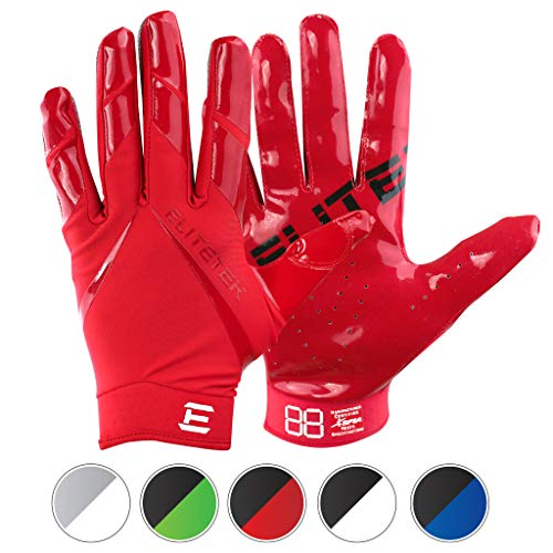 EliteTek New All RED RG-14 Football Gloves Youth and Adult (Red, Youth XXS)