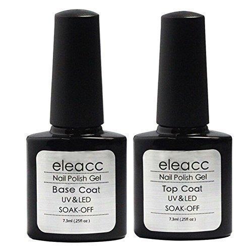 Eleacc 2x 7.3ml Soak off Top Coat & Base Coat UV Nagellack Gel Gellack (2er Pack)