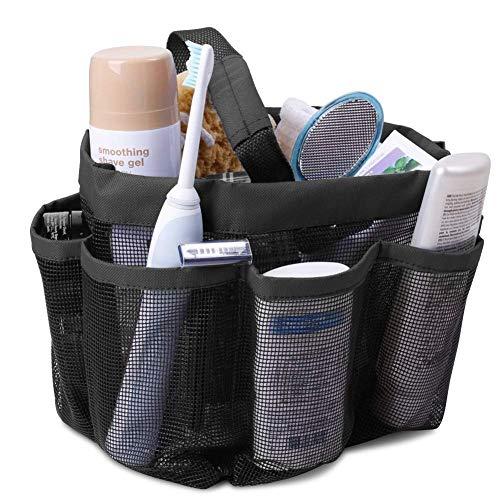 ETY Mesh Shower Caddy, Portable Large Size Handy Shower Caddies Quick Dry Caddy Bag, Haundry Mesh Shower Caddy Tote 8 Pockets Gym, School, Bathroom, Camping, Beach, Travel Caddy Organizer (Black)