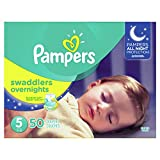 Pampers Swaddlers Overnights Disposable Baby Diapers Size 5, 50 Count, SUPER: more info