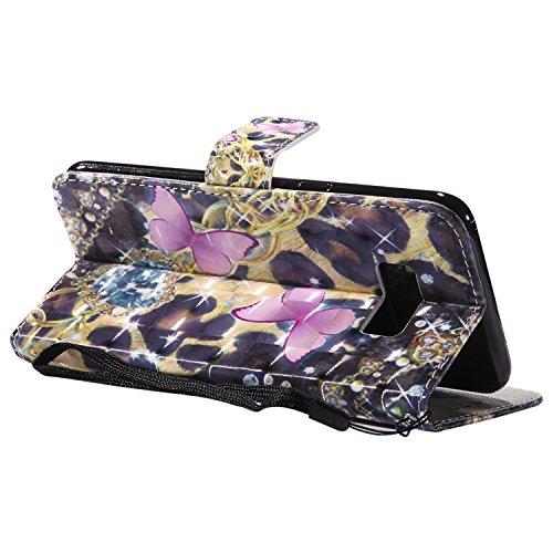 Galaxy S8 Plus Hülle,Samsung Galaxy S8 Plus Wallet Flip Hülle,Artfeel Stilvoll 3D Farbmalerei Muster Tasche [Magnetverschluss] [Standfunktion] Kratzfestes Premium PU Bookstyle Leder Brieftasche Schutz Rosa Schmetterling