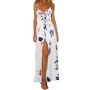 05163bb6a9a961 Kleid Damen Kolylong® Frauen Elegantes V-Ausschnitt Blumen Gedrucktes  ärmelloses langes Kleid Reizvolles rückenfreies