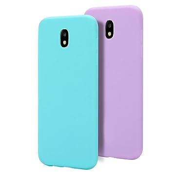 MoEvn 2 X Galaxy J7 2017 Funda, Carcasa para Samsung J7 2017, Case Cover TPU Suave Silicona, Slim Anti Skid Anti Rasguño Color Gel Funda para Samsung ...